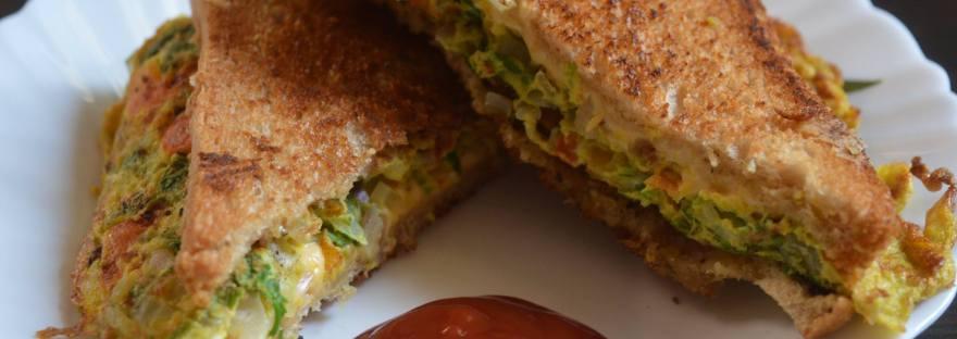 Bread Omlette Cheese Sandwich